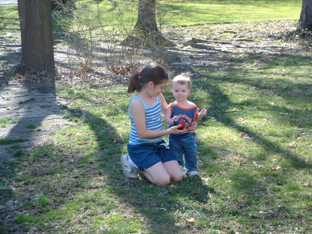 Katie and Joseph outside